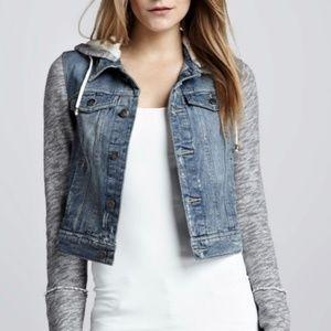 Free People Denim Jacket with Grey Knit Hood EUC